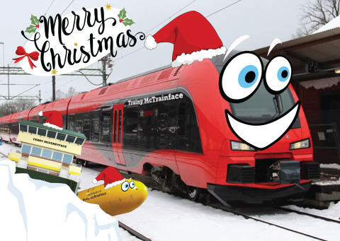 A Christmas greeting from Trainy McTrainface to its cousins Ferry McFerryface and Boaty McBoatface