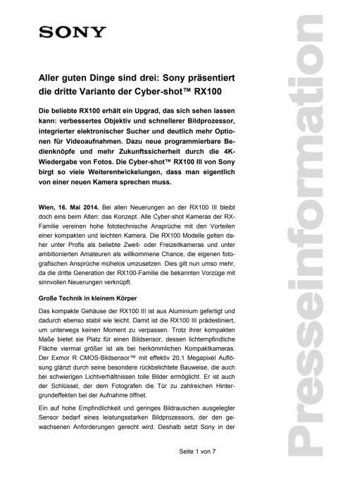 """Pressemitteilung """"Aller guten Dinge sind drei: Sony präsentiert die dritte Variante der Cyber-shot™ RX100"""""""