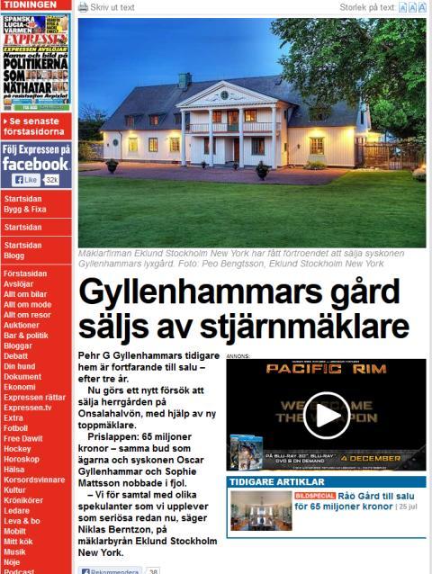 Gyllenhammars gård säljs av stjärnmäklare