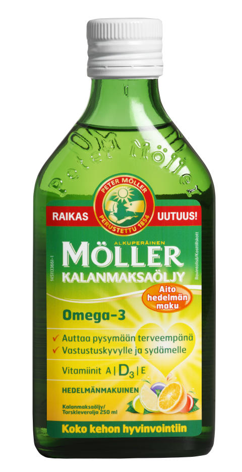 Perinteistä Möller Kalanmaksaöljyä saa nyt hedelmänmakuisena