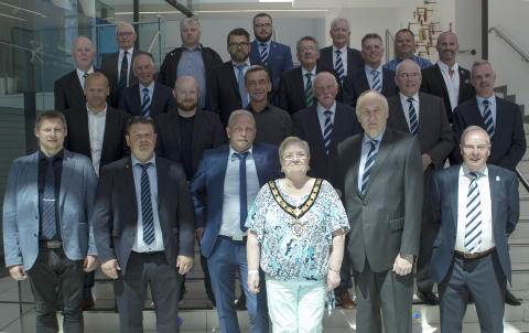NSI Runavik delegation hosted at The Braid ahead of crucial match