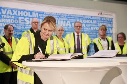 Premiärtur för Citybanan vid signering