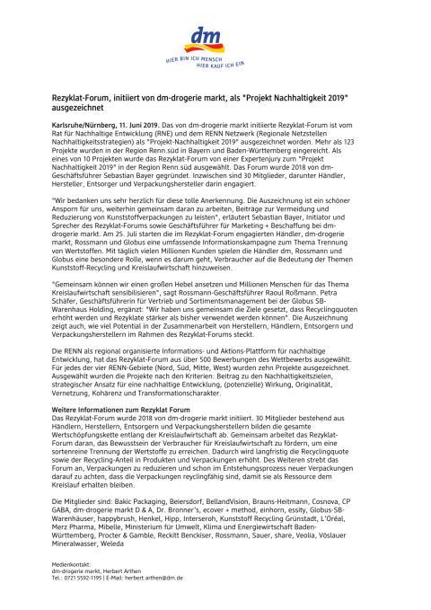 """Rezyklat-Forum, initiiert von dm-drogerie markt, als """"Projekt Nachhaltigkeit 2019"""" ausgezeichnet"""