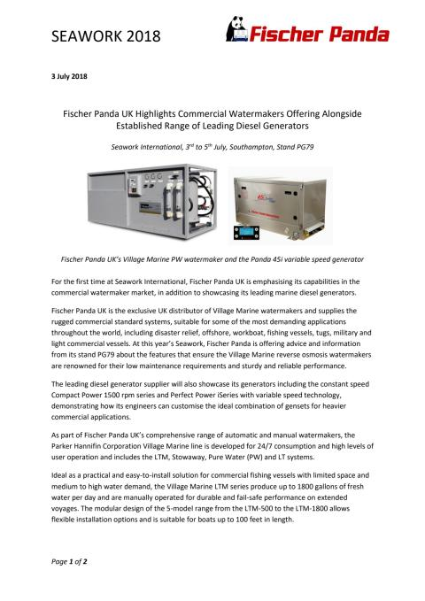 Fischer Panda UK Highlights Commercial Watermakers Offering Alongside Established Range of Leading Diesel Generators