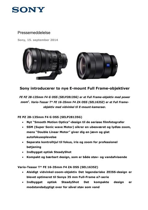 Sony introducerer to nye E-mount Full Frame-objektiver
