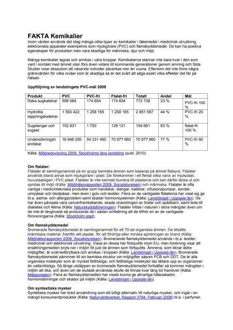 Fakta om kemikalier i vården