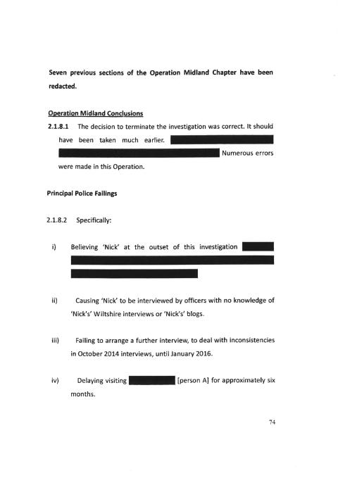 Sir Richard's conclusions and Principal Police Failings on Operation Midland