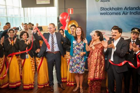 Invigning av Stockholm-Delhi linjen på Arlanda