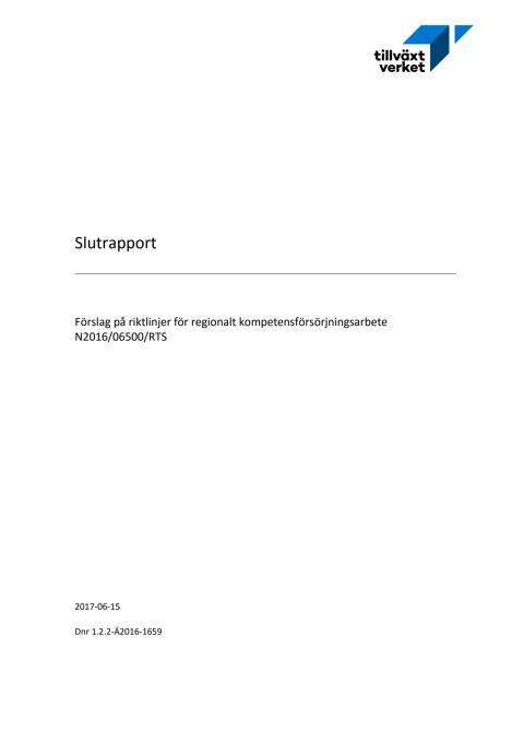 Förslag på riktlinjer för regionalt kompetensförsörjningsarbete