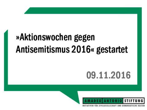 »Aktionswochen gegen Antisemitismus 2016« gestartet