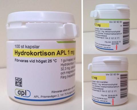 Indragning av Hydrokortison APL hårda kapslar 1 mg