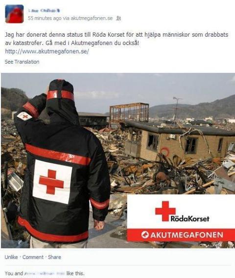 Donera din Facebook-status och hjälp Röda Korset rädda liv