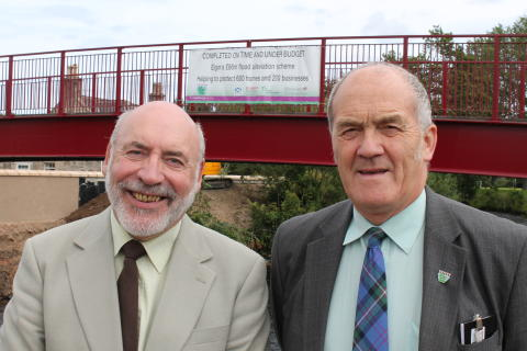 Leader of Moray Council, Cllr Stewart Cree and Chair of Flood Alleviation Sub Committee, Cllr George Alexander