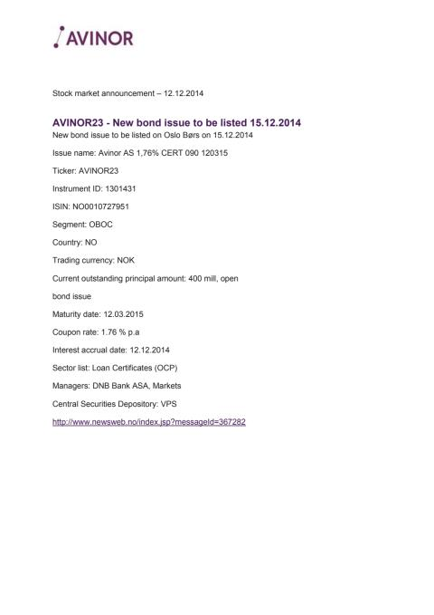 Avinor23 - New bond issue to be listed 15.12.2014