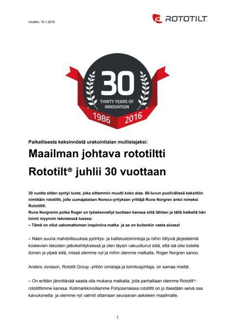 Maailman johtava rototiltti Rototilt® juhlii 30 vuottaan