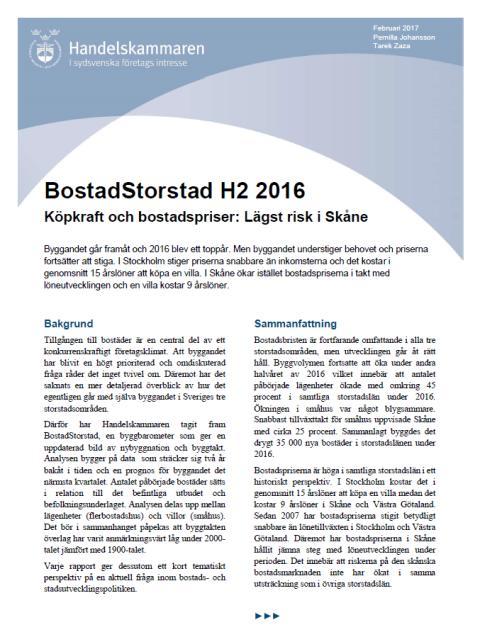 BostadStorstad: Köpkraft och bostadspriser: Lägst risk i Skåne