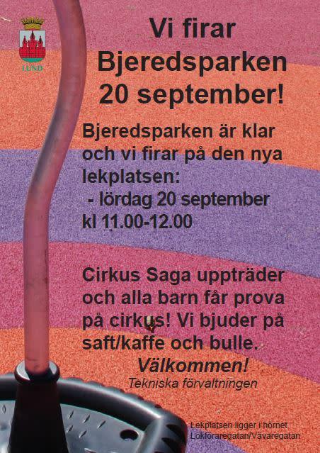 Missa inte lekplatsöppningen i Bjärredsparken - Lund den 20 september!