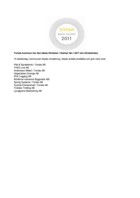 Företagen bakom Bästa Tillväxt 2011 i Torsås kommun.