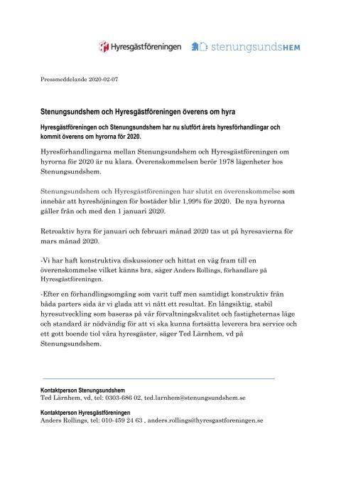 Stenungsundshem och Hyresgästföreningen överens om hyrorna för 2020