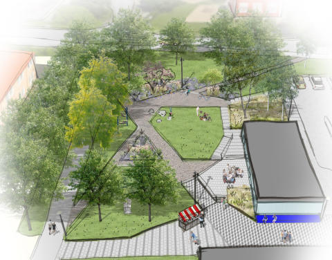 Ombyggnation av Glanshammars torg, skissbild