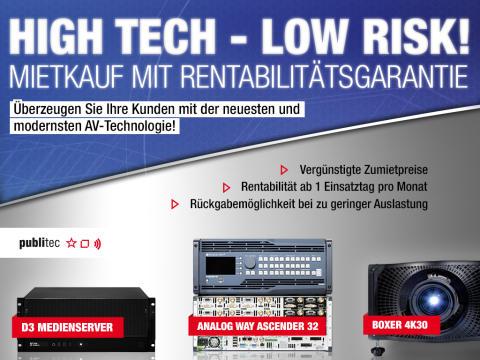 High Tec – Low Risk: Risikoloser Mietkauf für 4K-Produkte bei publitec