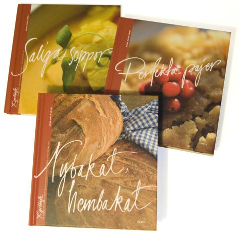 Perfekta pajer, Nybakat, hembakat och Saliga soppor -- tre nya receptböcker från Libris