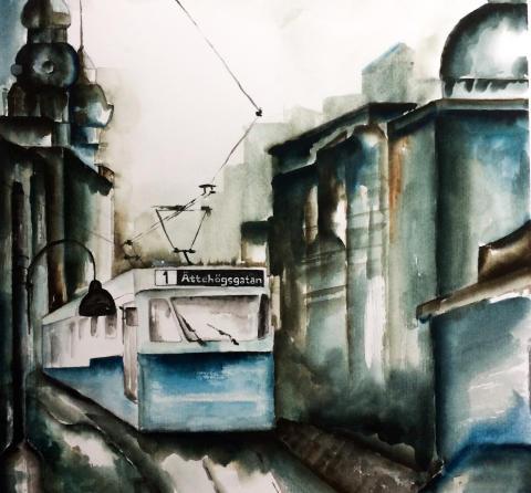 Arbetslösa ungdomar målar vinnande konstverk  - spårvagn hamnar på stor husfasad på Andra Långgatan