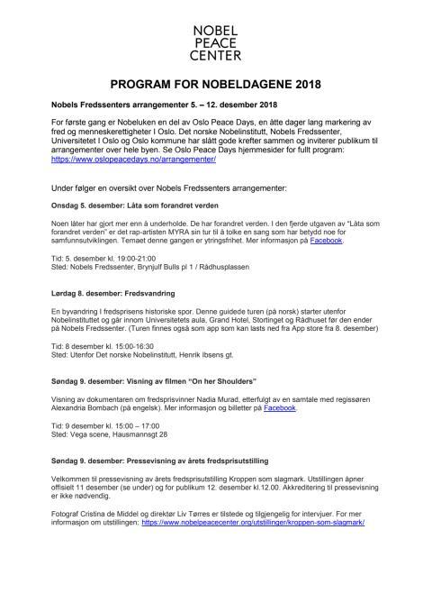 Program for Nobeldagene 2018