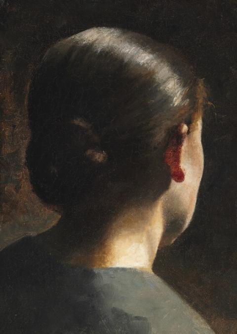 Portræt af kunstnerens søster Anna Hammershøi set bagfra. Usigneret.  Olie på lærred monteret på træ. 38 x 28 cm. Hammerslag 1.500.000 kr.