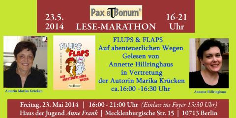 """Flups und Flaps die neuen Helden der Autorin Marika Krücken bei """"24 Stunden Buch""""/Pax et Bonum Verlag - Kleiner Lese-Marathon mit guten Büchern 23.05.2014 im Haus der Jugend Anne Frank."""