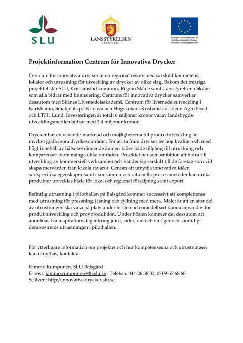 Projektinformation Centrum för Innovativa Drycker