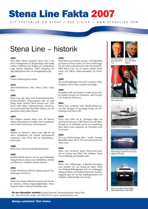 Pressinformation - Stena Line historik
