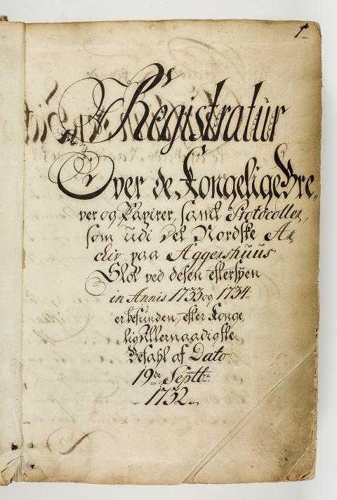 Tittelsiden til 1734-registraturen