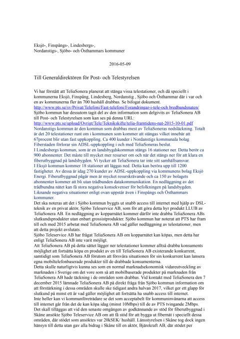 Skrivelse till Post- och telestyrelsen