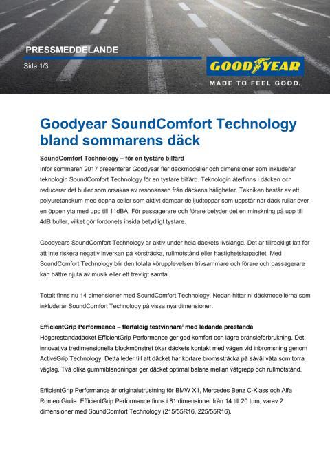 Goodyear SoundComfort Technology bland sommarens däck
