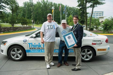 Volkswagen Passat TDI breaks 93 mpg and sets Guinness World Record for fuel economy around 48 US States