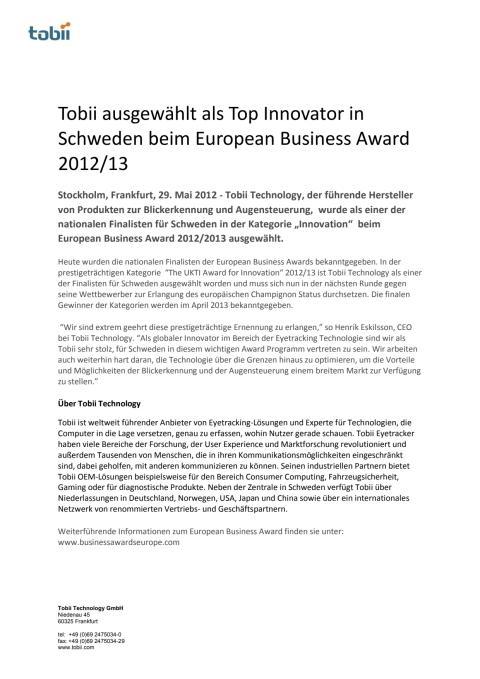 Tobii ausgewählt als Top Innovator in Schweden beim European Business Award 2012/13