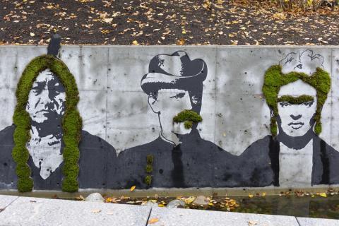 Граффити из мха в Осло