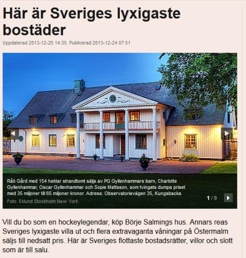 Här är Sveriges lyxigaste bostäder