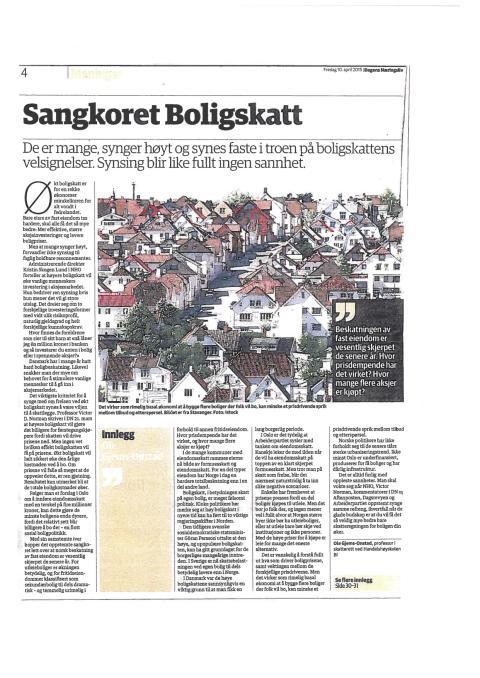 Presseoppslag om boligskatt