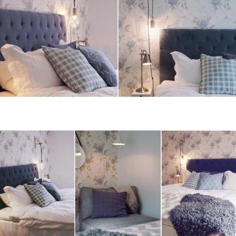 Blomstrande Hortensia-tapeter i sovrummet