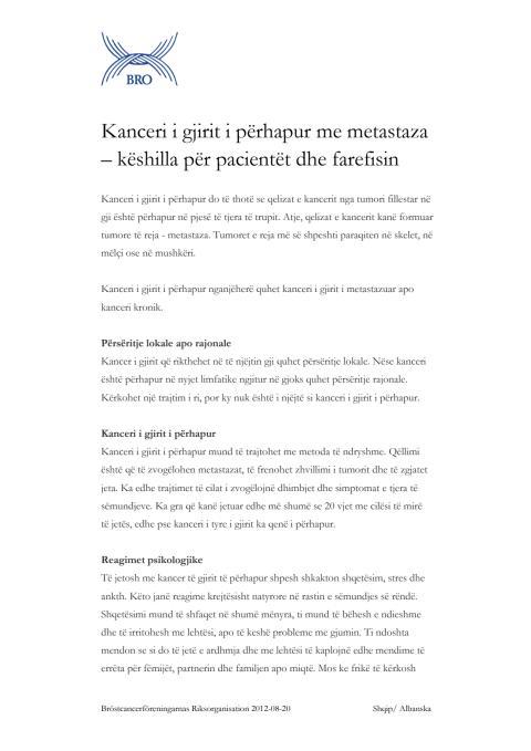 Kanceri i gjirit i përhapur me metastaza – këshilla për pacientët dhe farefisin – Fakta om spridd bröstcancer på albanska