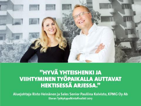 KPMG Oy Ab – Eteran Työkykypalkintofinalisti 2017: Hyvässä jengissä ei stressi paina