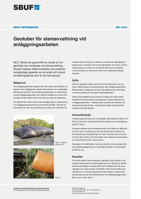 SBUF Informerar, nr. 12-01 Geotuber för slamavvattning vid anläggningsarbeten