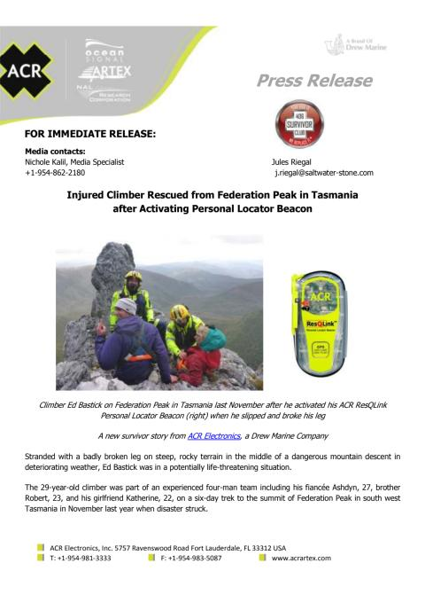 Injured Climber Rescued from Federation Peak in Tasmania after Activating Personal Locator Beacon