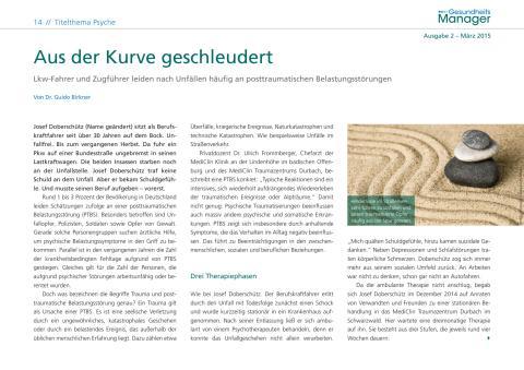 """Dr. Ulrich Frommberger zum Thema Posttraumatische Belastungsstörungen im Magazin """"Gesundheitsmanager"""" (2/2015)"""