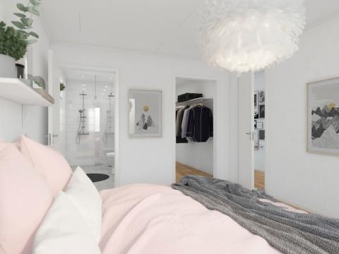 Kv Pärlbandet - 3D-bild av sovrum 2-planshus 147 kvm