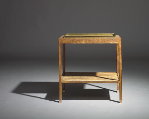 Kaare Klint: An unusual unique oak burl tray table with underlying shelf.