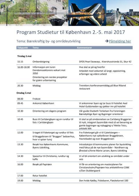 Studietur til København - program