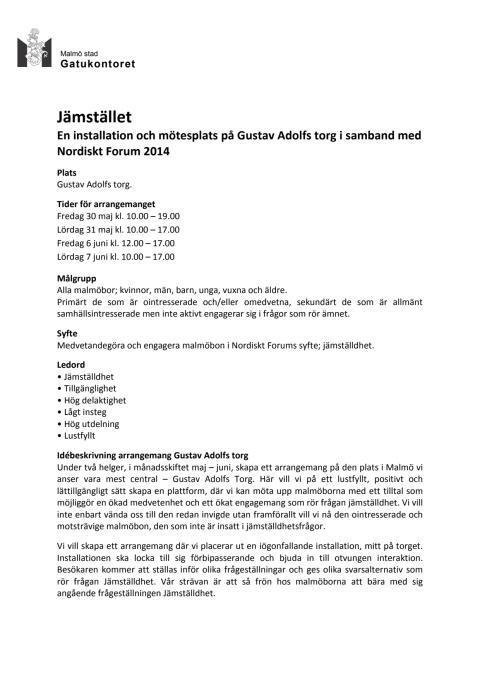 """""""Jämstället"""" - en installation och mötesplats under Nordiskt forum 2014"""